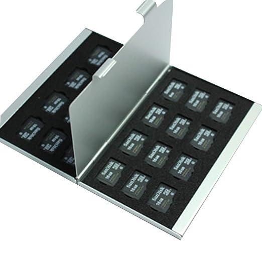 Deinbe Aleación de Aluminio Tarjetas Micro SD TF Estuche de Almacenamiento Tarjeta de Memoria Titular Delgado Capas Dobles Plata 24TF