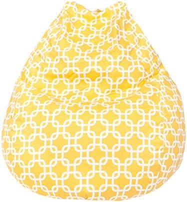 Gold Medal Bean Bags Teardrop Gotcha Hatch Print Pattern Bean Bag, Large, Natural Yellow