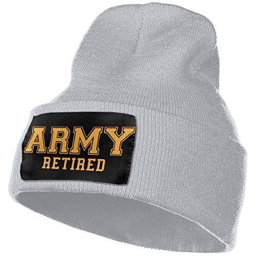 (Mens and Womens 100% Acrylic Knit Hat Cap, Army Retired Original Skull Beanie)