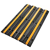 Mophorn Cable Protector Car Single Channel Rubber Channel Cable Protector Capacity 18000lbs Cable Hose Protector 4 Pack