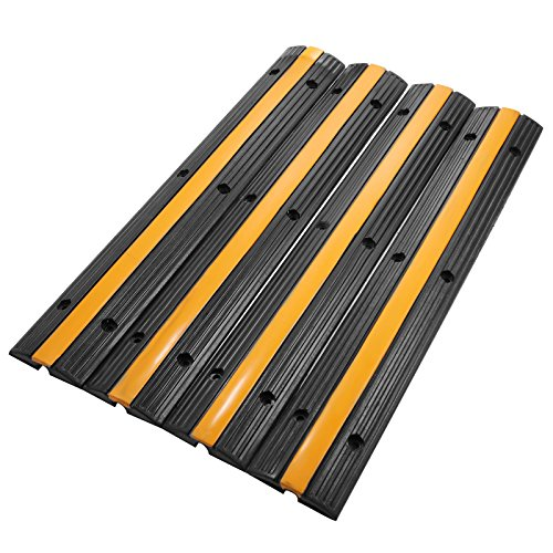OrangeA 4 Pack Channel Rubber Cable Protector 18000lbs Capacity Speed Bump Rubber Speed Bump Cable Protector Ramp (4 packs)