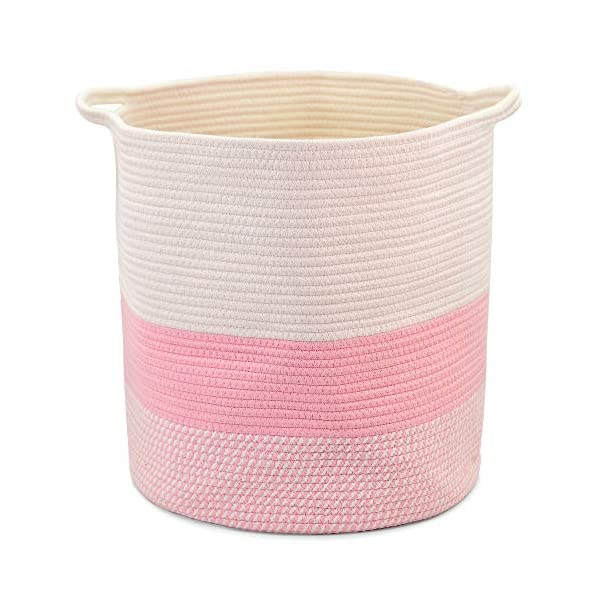 sweetplus Foldable Cotton Rope Basket Laundry Basket – Woven Toy Bin Blanket Storage Basket – Cotton Rope Baskets Organizer Nursery Hamper with Various Handle (Pink, XL)