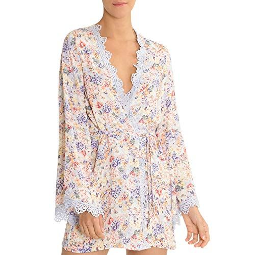 In Bloom by Jonquil Windflower Floral Print Wrap Robe (Blue/Peach, -