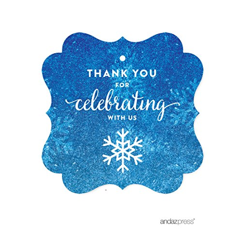Andaz Press Birthday Fancy Frame Gift Tags, Thank You for Celebrating With Us, Frozen Snowflake, 24-Pack, For Blue Winter Christmas Holiday Gifts and Party -