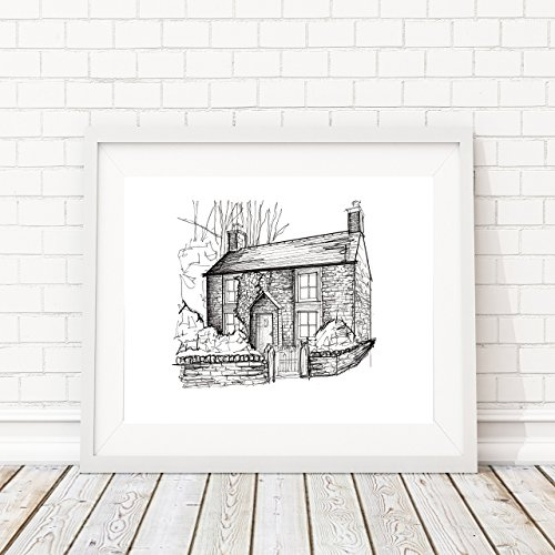 Custom Personalized Pen and Ink Stylistic House/Residential Portrait | 8x10 Hand Sketched Artwork by Iler Creative