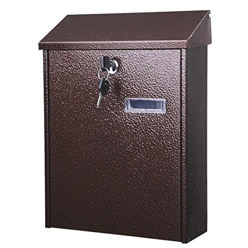 Vintage Lockable Mail Box Vertical Wall Mount Steel Letterbox w/ Door & 2 - Canada Mail Rates