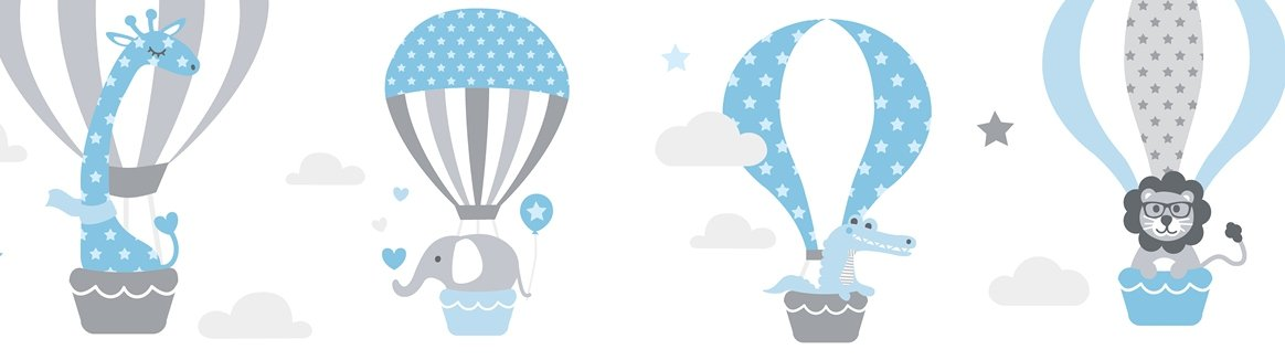 lovely label Wallpaper Border for Kids -Hot Air Balloons Wall Stickers for Children's Playroom or Bedroom in Grey-Blue - Self-Adhesive Wall Border Stickers - Wall Decal and Stickers for Children