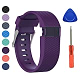 BeneStellar Newest Fitbit Charge HR Band, Silicone Replacement Small Large Band Bracelet Strap for Fitbit Charge HR Wireless Activity Wristband (Large(6.2'-7.6'), Plum 1-Pack)