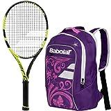 Babolat Pure Aero Junior 26'' Tennis Racquet (Black/Yellow) bundled with Girl's Club Tennis Backpack (Purple)