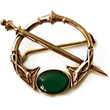 Bronze Green Agate Celtic Knot Tara Brooch and Pins Norse Vintage Thailand Made Jewelry