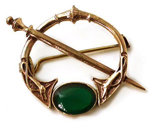 Free Ship Brooch Pin (Bronze Green Agate Celtic Knot Tara Brooch and Pins Norse Vintage Thailand Made Jewelry (Brooch))