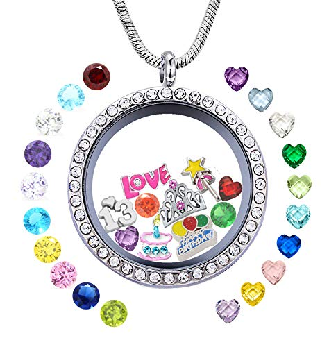 (JOLIN Happy 13th Birthday Gift, Floating Charms Memory Locket, DIY Stainless Steel Pendant Necklace with Birthstones for Niece Daughter Granddaughter Cousin Best Friend Sister)