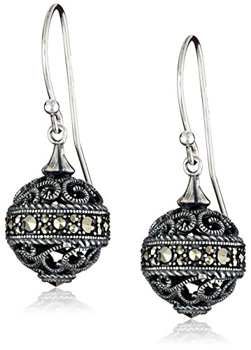 Sterling Silver Oxidized Genuine Marcasite Filigree Ball Dangle Earrings