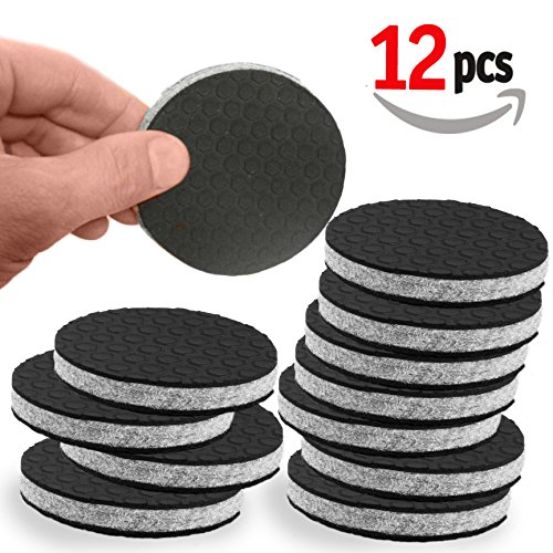 'SlipToGrip' NON SLIP Furniture Pad Grippers - Large 3' Furniture Grippers - Stop Furniture Slide - 12 Pack - Round Floor Pads - 3/8' Heavy Duty Felt Core. Patent Pending.