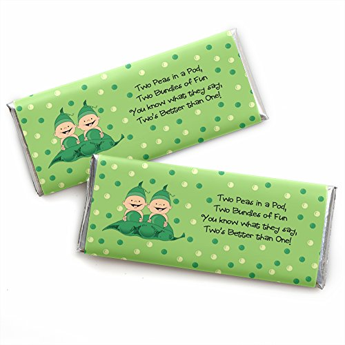 Big Dot of Happiness Twins Two Peas in a Pod Caucasian - Candy Bar Wrappers Baby Shower or Birthday Party Favors - Set of 24 (Were Like Two Peas In A Pod)