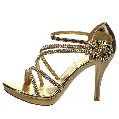 DELICACY ESSENTIAL-28 Women's Rhinestones Embellished Straps Platform Sandals, Color:GOLD, Size:8