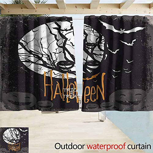 MaryMunger Simple Curtain Vintage Halloween Full Moon Trees Rod Pocket Curtain Panels W63x45L Inches]()