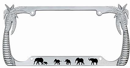 Elephants Palm Tree Design Chrome Metal Auto License Plate Frame Car Tag Holder