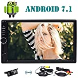 7'' Double Din Car Stereo with Android 7.1 Octa Core 2GB 16GB In Dash GPS Navigation Auto FM AM Radio Support Bluetooth WiFi OBD2 Steering Wheel Control + Free Wireless Backup Camera