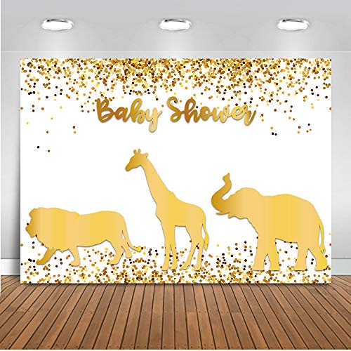 Mocsicka Wild One Baby Shower Backdrop 7x5ft Gold Animals Giraffe Lion Confetti Animals Theme Baby Shower Party Decoration Photo Booth Backdrops Jungle King Newborn Baby Photography Background