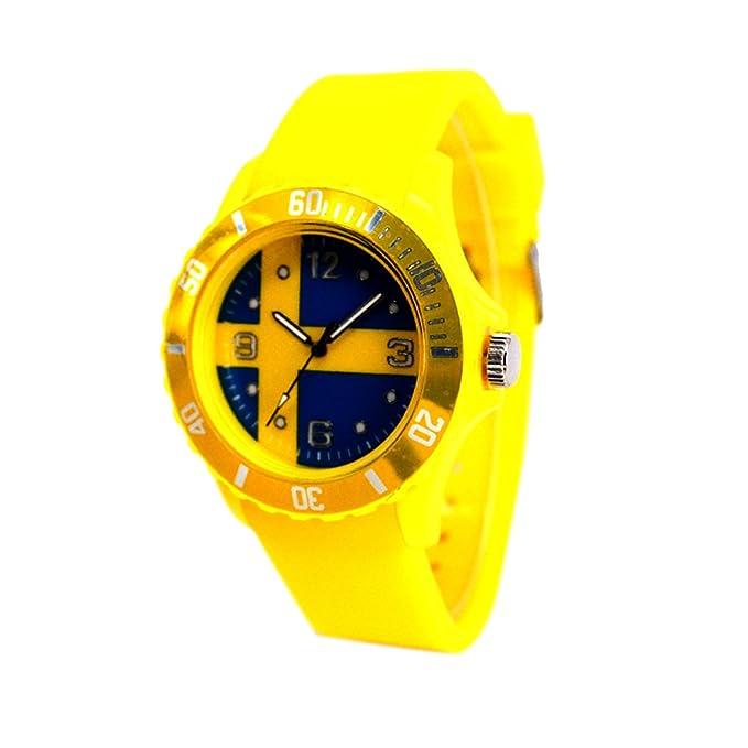 Reloj con la bandera de Suecia con pulsera de Silicona