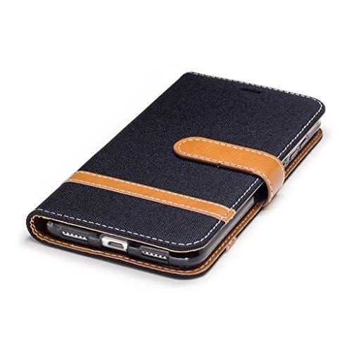 Trumpshop Smartphone Carcasa Funda Protección para Huawei P8 Lite (2017) [Oro] Estilo Vaquero PU Cuero Caja Protector Billetera [No compatible con Huawei P8 Lite] Negro