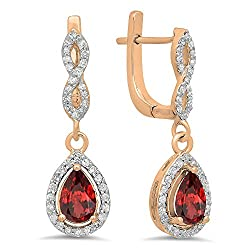 Garnet & Round White Diamond Teardrop Earrings