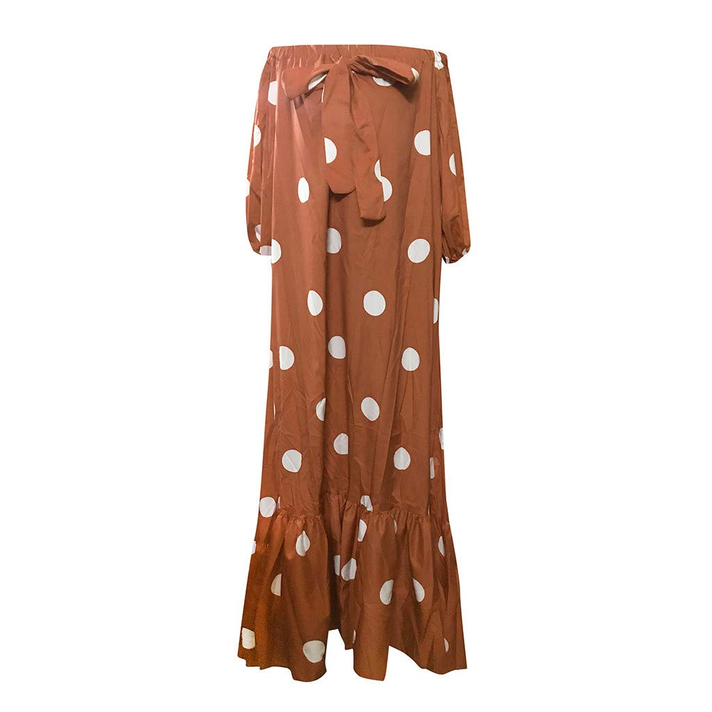 Huifa 2019 Stylish Women Polka Dot Printed Dress Cold Shoulder Lace Ruffle Bow Gown (Brown,XXXXXL) by Huifa Women Dress