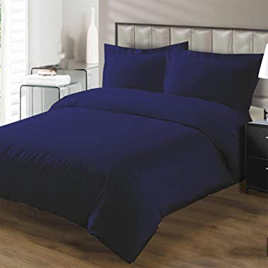 Kotton Culture Premium Duvet Cover 100% Egyptian Cotton 600 Thread Count with Zipper & Corner Ties Luxurious Hotel Collection (California King/King, Navy Blue)