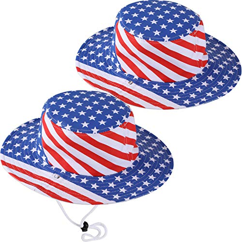 (Geyoga 2 Pieces Patriotic Hat American Flag Hat Stars and Stripes Caps for 4th of July Decoration)
