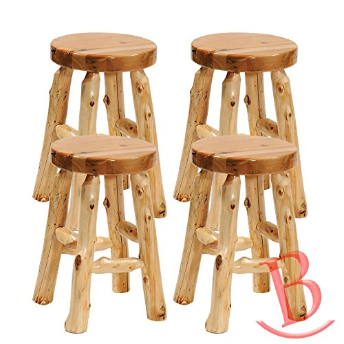 4 Set Counter Height Cedar Round Barstool Real Wood Western Lodge Rustic