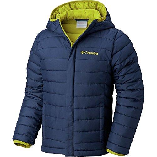 Columbia Boy's Big Powder Lite Puffer Water-Resistant Insulated Jacket, Collegiate Navy, Python Green, Medium