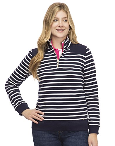 IZOD Women's French Terry 1/4 Zip Top, Peacoat Stripe, M ()