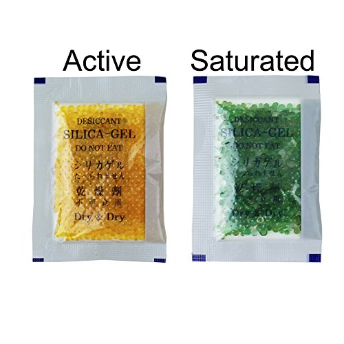 "[25 Packs] 10 Gram Orange ""Dry & Dry"" Premium Indicating(Orange to Dark Green) Silica Gel Packets - RECHARGEABLE"