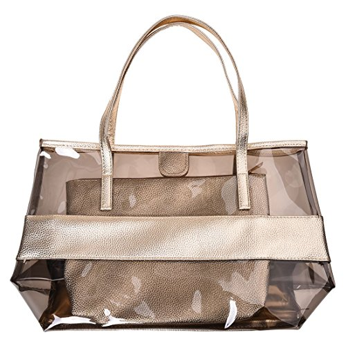 Bag Bag SODIAL Small Polyester Beach and PVC with R Cosmetic champagne color zzZOqt