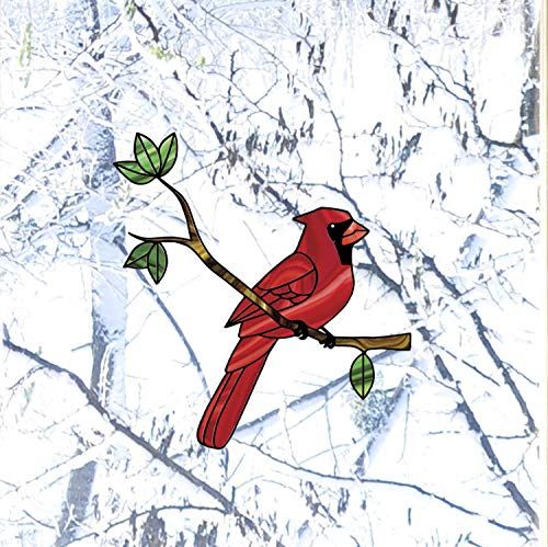 - Bird - Cardinal Bird Perched on Branch - Stained Glass Style See-Through Vinyl Window Decal - Copyright 2015 Yadda-Yadda Design Co. (Variations Available) (MED 5.75