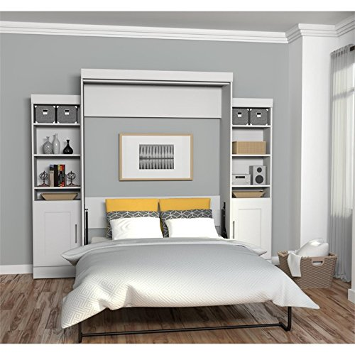 Murphy Beds Germany : Bestar edge queen wall bed with storage in white furniture