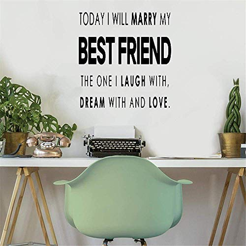 Yushen Wall Decor Stickers for Living Room Today I Will Marry My Best Friend for Wedding Marriage