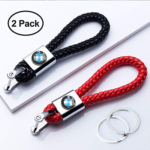 HEY KAULOR 2Pack Genuine Leather Car Logo Keychain Suit for BMW 1 3 5 6 Series X5 X6 Z4 X1 X3 X7 7 Series, M Key Chain Keyring Family Present for Man and Woman,Black and Red in USA