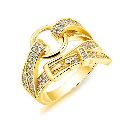 - KnSam Classic Ring Gold Plated Cubic Zirconia Buckle Belt Design Women Fashion Rings Size 6