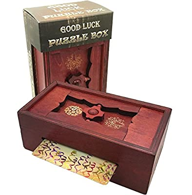 Good Luck Puzzle Box Secret - Money and Gift Card Holder in a Wooden Magic Trick Lock with Hidden Compartment Piggy Bank Brain Teaser Game