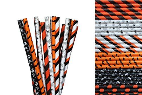 Halloween Paper Straw Mix - Orange, Black, Spider, Skull, Bats, Striped, Polka Dot (50)