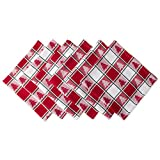 DII 100% Cotton, Oversized Basic Everyday 20x 20'' Napkin, Set of 6, Red & White Check with Christmas Tree
