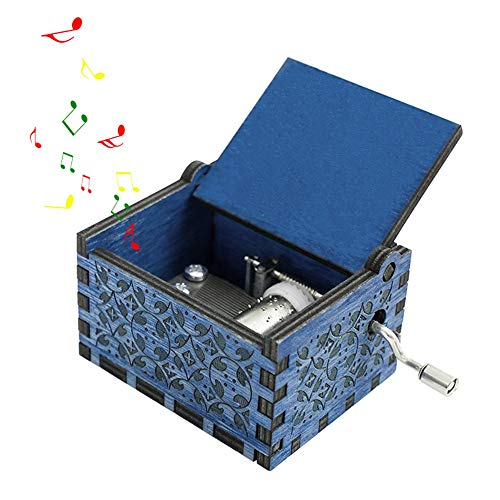 (Pawaca Hedwig's Theme Music Box, Hand Crank Musical Box, Carved Wooden Personalizable Music Box for Birthday or Christmas(Blue))