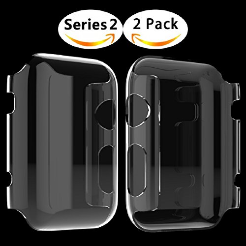 Langboom 50case-ch Apple Watch Screen Protector Ultra-Thin PC Hard Cover Full Coverage Clear Case for iWatch Series 2 - 42 mm - 2 (2 Piece Apple)
