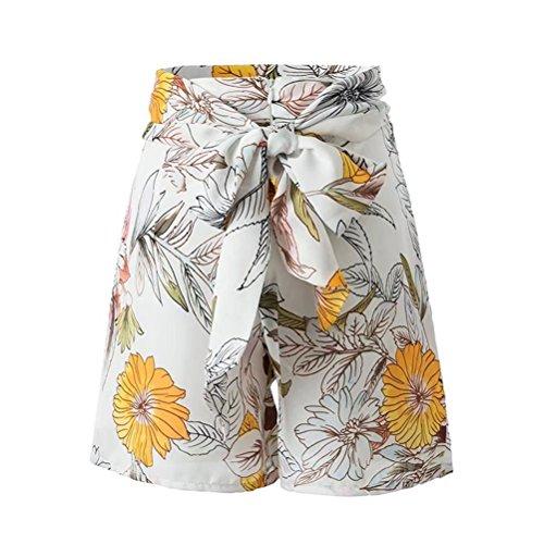 casual Pantaloncini vita pantaloni a donna alta mano mini FuweiEncore As a Shown stampati ABqc0wx