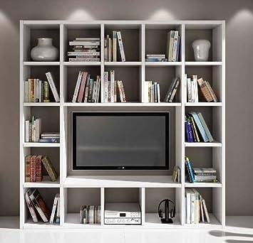 Wohnwand-TV Bücherregal Wohnzimmer weiß Esche 20 Elemente: Amazon.de ...