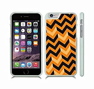 iStar Cases? iPhone 6 Case with Chevron Pattern Black/ Orange Stripe , Snap-on Cover, Hard Carrying Case (White) by ruishername