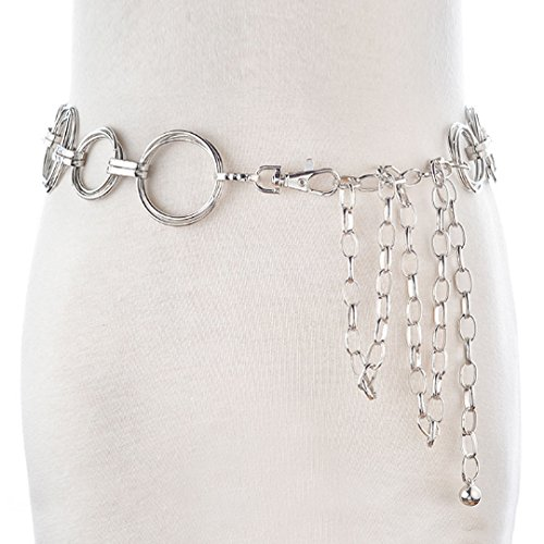 LABANCA Womens Metal Chain Dress Belt Hollow Out Ring Sweater Belt Decorated Skinny Waist Belt (Womens Chain Belts)
