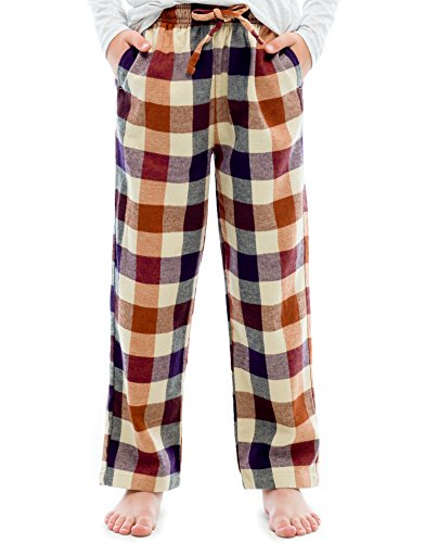 TINFL Big Boys Soft 100% Cotton Flannel Winter Lounge Pants FBP-14-Orange-YM by TINFL